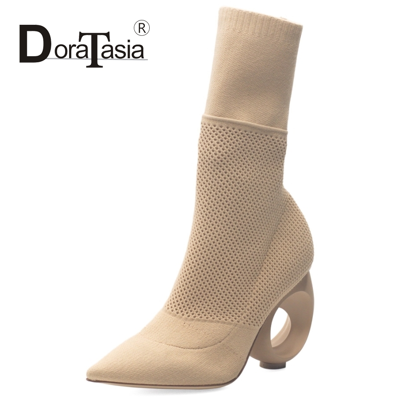 DoraTasia Women Half Knee Boots Knitting Upper Pointed Toe Shoes Woman Sexy Fretwork Heels Party Wedding