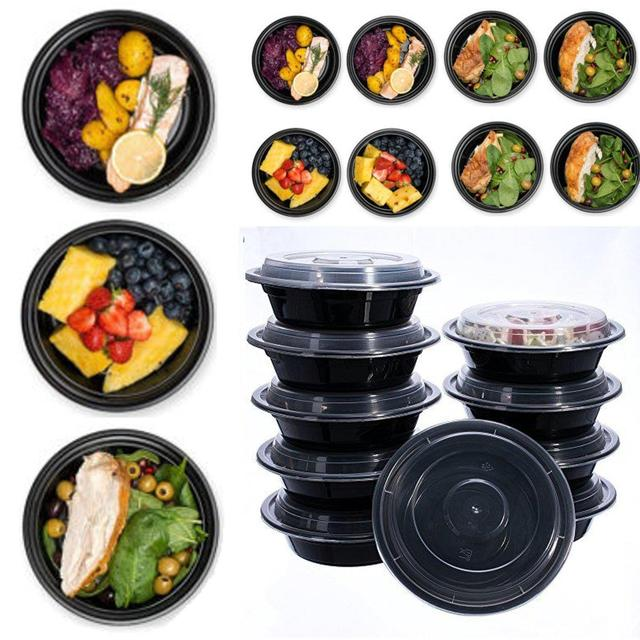 Round Plastic Food Storage Container With Lid Bento Box Meal