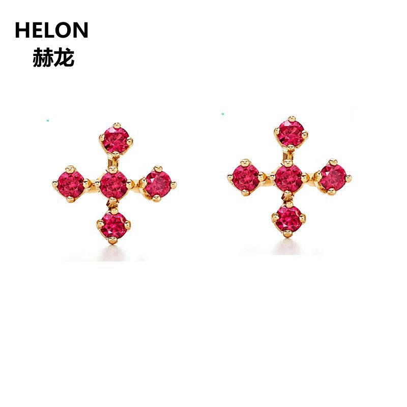 Solid 14k Yellow Gold Natural Ruby Stud Earrings For Women Party Engagement Wedding Fine Jewelry