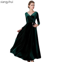 Vintage Fashion Women S High Waist Velvet Dress Plus Size 3XL Sexy V Neck Long Sleeve