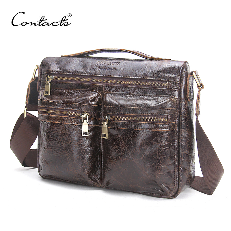 CONTACTS 2018 Autumn New Arrival Mens Messenger Bags For Men Crossbody Bag Khaki Mens Bag Shoulder Bags Business Casual
