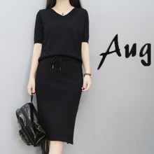 2019 Summer New Suit Female Fashion Korean Solid Black T Shirt Skirt Two-piece Womens Tracksuit Set  2 Piece Outfits for Women black solid color swimwears two piece outfits