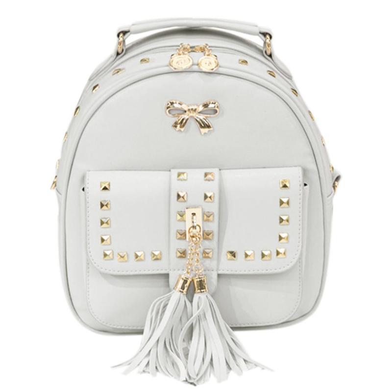Women Multifunction Backpack Leather Tassel Rivets Shoulder Bag Mini Backbag Female Zipper School Bag Girl Travel Bag Mochila цена