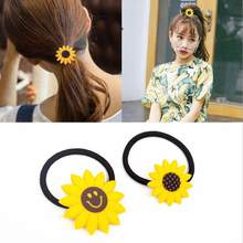 4pcs 2018 New Korean Fashion Women Yellow Sunflower Hair Accessories New Little Girl Tiara Smiley f Hair Band Rubber Band Flower(China)