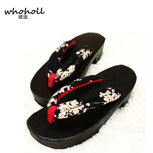 Japanese Womens cosplay clogs slippers Sandals shoes Platform Wedge Antiskid new