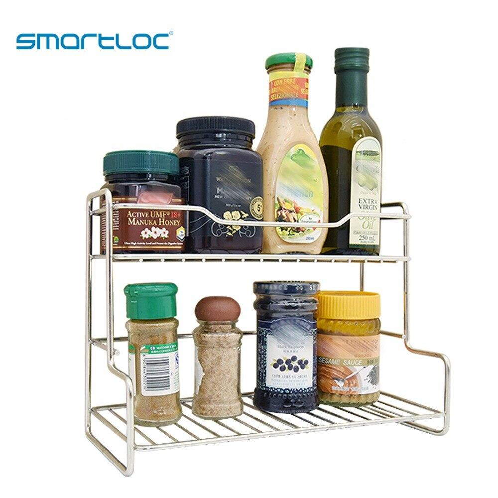 smartloc Stainless Steel Kitchen Organizer Bottle Jars Storage Dish Rack Plate Accessories Drainer Supplies Home Seasoning pot