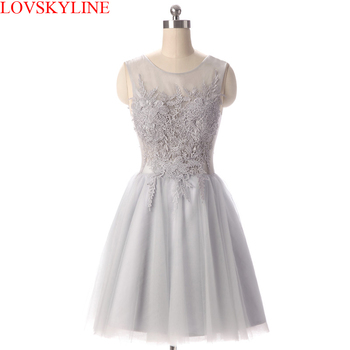 New Arrival Gray Short Lace Evening Dress  Homecoming Dresses Sleeveless BACKLESS Robe de Soiree Courte