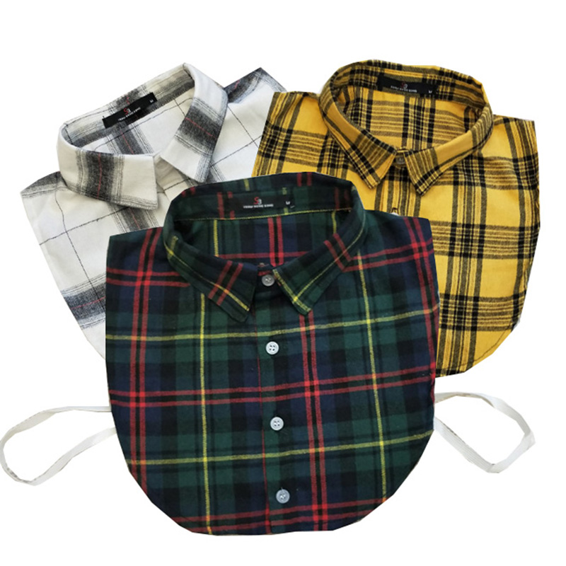 Apparel Accessories Plaid Fake Collar Shirt Women And Men Cotton Fake False Collar Shirt Blouse Ladies Kragen Fake Collar Women Detachable Collars