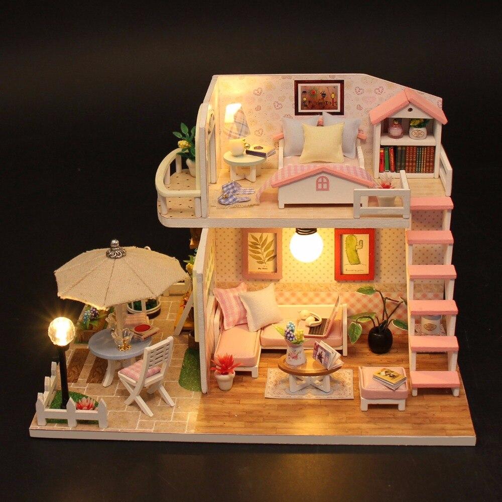 Рождественские подарки миниатюрный Diy Puzzle кукольный домик Модель деревянная мебель строительные блоки игрушки подарки на день рождения ро...