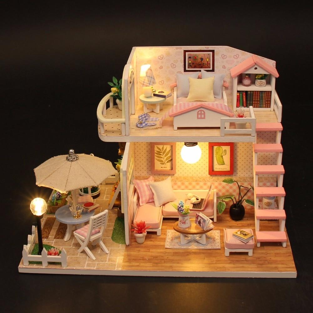Weihnachten Geschenke Miniatur Diy Puzzle Spielzeug Puppe Haus Modell Holz Möbel Bausteine Spielzeug Geburtstag Geschenke ROSA LOFT VILLA