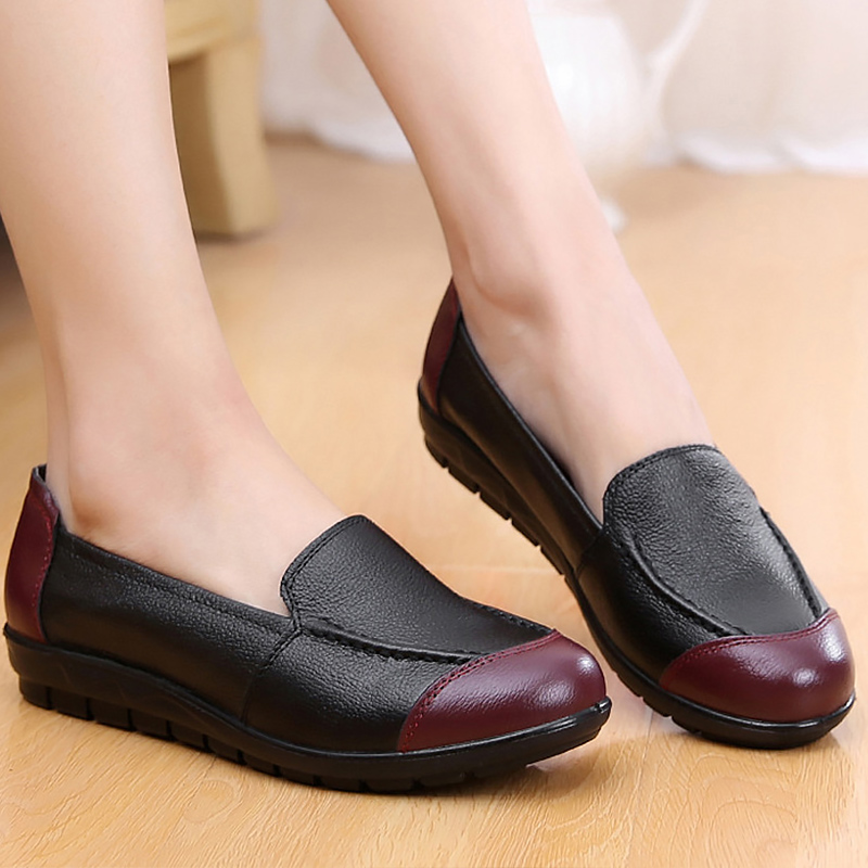 49d2a0bc4 المرأة الشقق أحذية الانزلاق على الضحلة مصمم إمرأة حقيقية أحذية من الجلد  كبيرة حجم 4.5-
