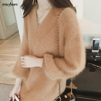 Sweater Dress Mohair Winter Women Autumn 2018 Pullover Loose Cashmere Lantern Long Sleeve V neck Korean Knitted Winter Dresses