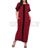 Women Plus Size 3XL 4XL 5XL Robe Dresses Contrast Panel Shirt Dress O Neck Short Sleeve Casual Loose Maxi Long Dress Summer 2019