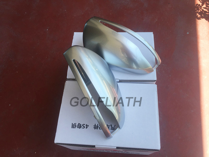 GOLFLIATH Car-Styling matte silver Replacement Side Review Mirror Caps Cover For Benz C E S Class GLA & GLC