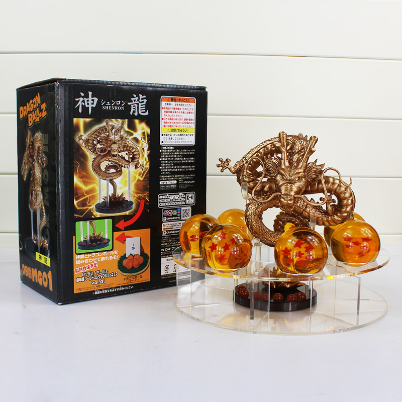 Dragon Ball Z Action Figures Golden And Green Dragonball Z Figures Set Esferas Del Dragon + 7pcs 4cm PVC Balls + Shelf комплект для татуировки oem 1 gig set golden dragon