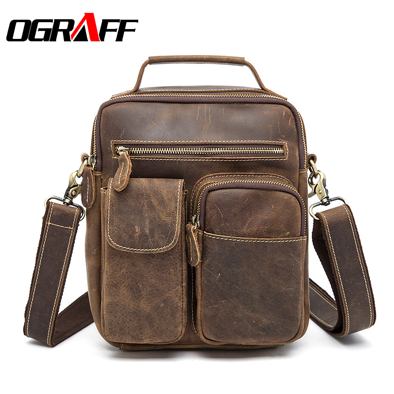 OGRAFF Handbag Men Genuine Leather Bag Men Messenger Bag Handbag Birefcases Crazy Horse Leather Shoulder Bags