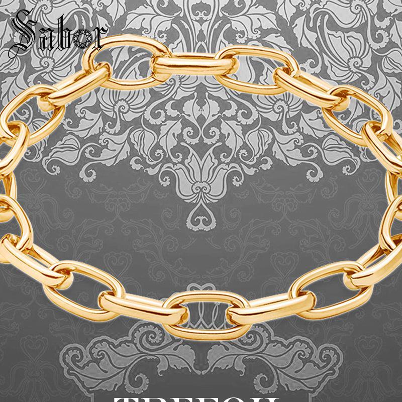 jewellery Bracelet Gold Color Lick Chain Bransoletka 2019 925 Silver Fashion Jewelry Ethnic Gift Men Boy Women Girls thomas