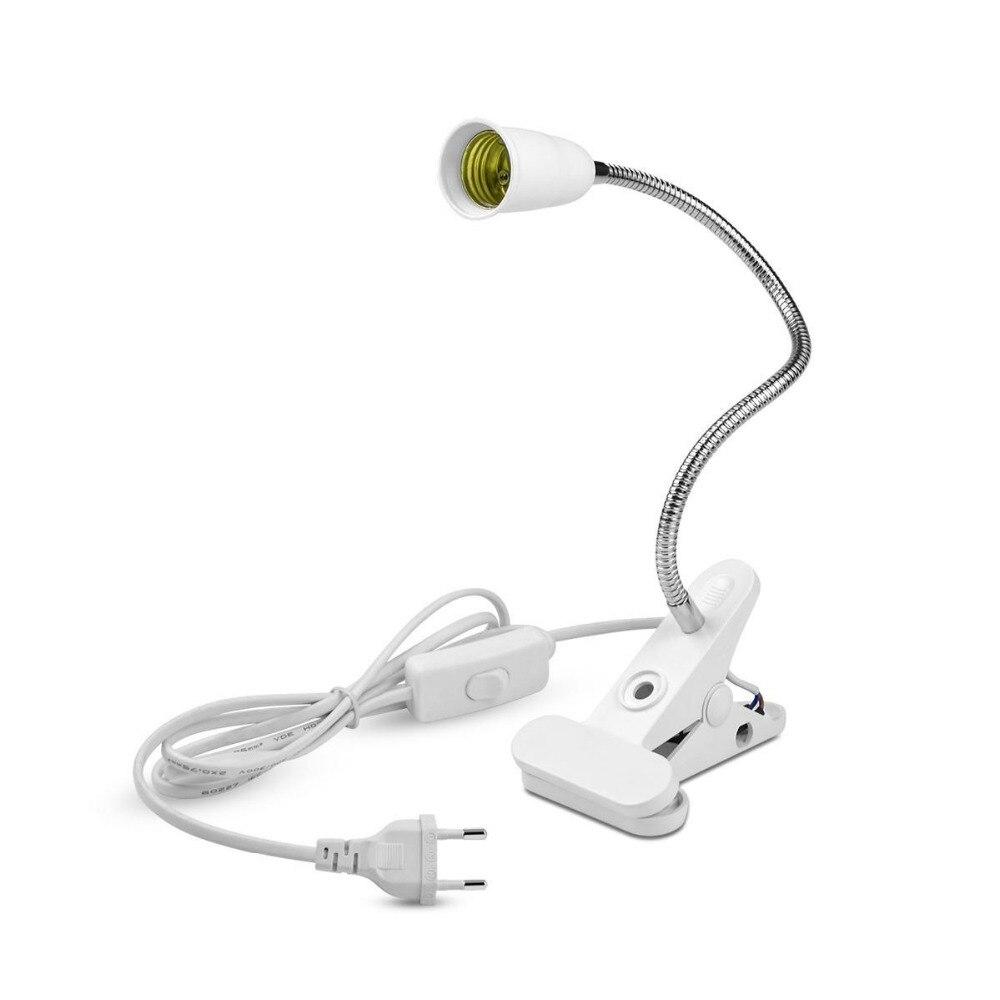 Flexible E27 Base Socket Lamp Holder Clip Led Table Desk