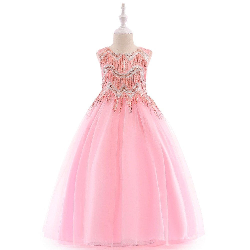 JaneyGao   Flower     Girl     Dresses   2019 New Long Teenage   Girl   Formal Gown Pink With Sequins Princess Tulle First Communion   Dresses