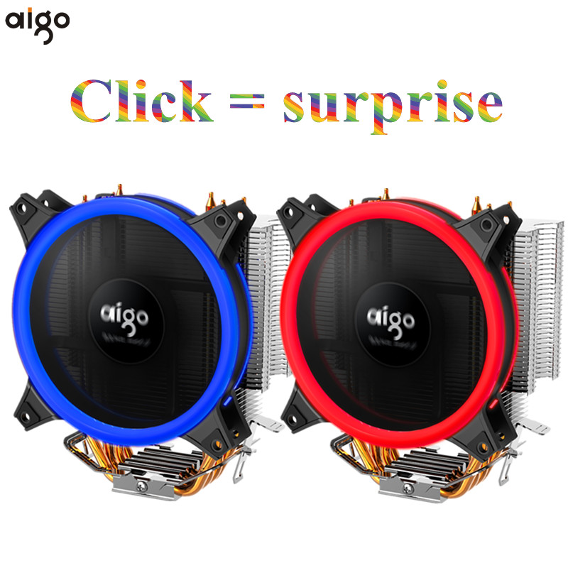 Aigo Icy E3 CPU Cooler 4 Heatpipes Dual PWM 4pin 12V 120mm Double Ring LED Fan Radiator Cooler for LGA 775/115x/AM2/AM3/AM4 фен elchim 8th sense icy silver 03082 32