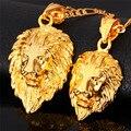 Hip Hop grande cabeza de León collar figaro cadena de oro para los hombres/mujeres joyería de moda antiguo platinado/bañado en oro rosado de 18K/bañado en oro real de 18K pendiente collar P215