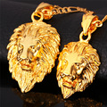 Hot Hip Hop Jewelry Big Lion Head Pendant Yellow Gold Plated Figaro Chain For Men Kpop Statement Necklace Collier Wholesale P215
