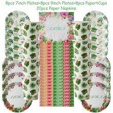 44pcs/set Disposable Tableware Flamingo Party Supplies Aloha Theme Wedding Decoration Birthday Summer Hawaiian