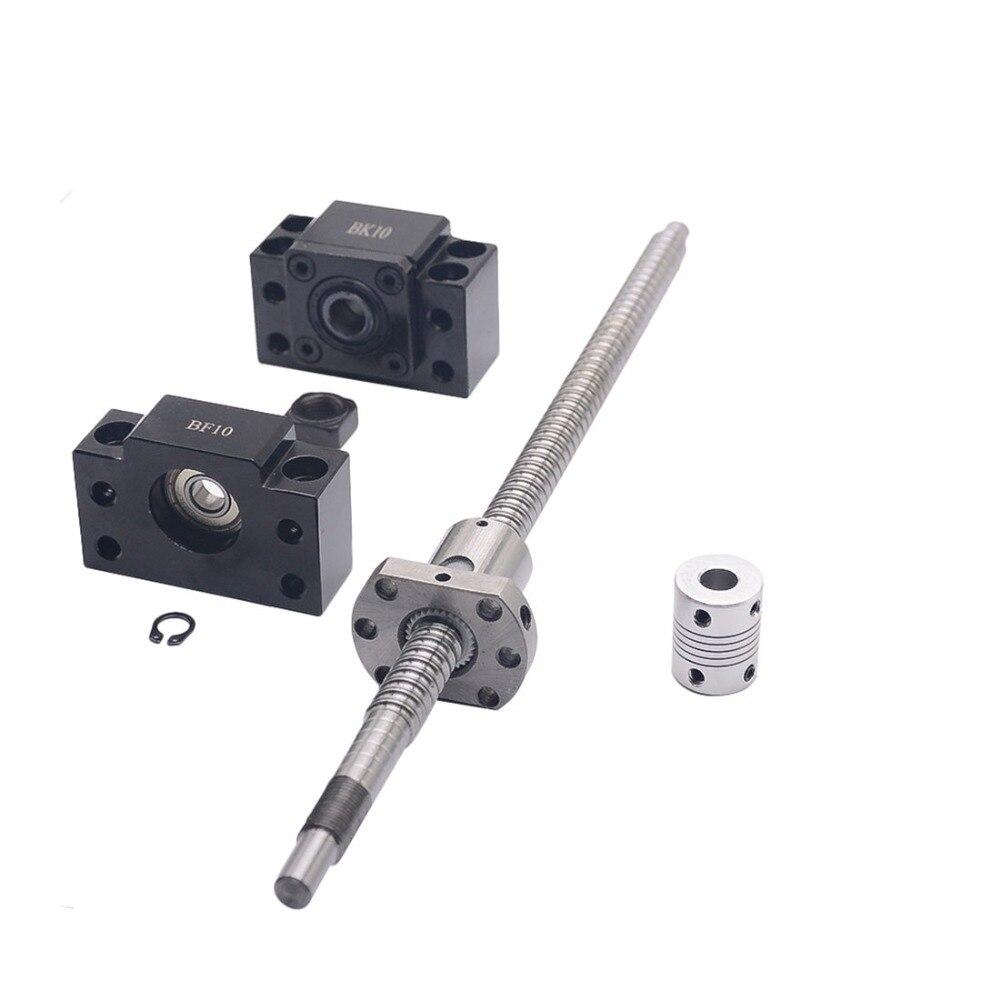 Ensemble SFU1204: vis à billes roulées SFU1204 C7 avec extrémité usinée + écrou à billes 1204 + support d'extrémité BK/BF10 + coupleur pour pièces de CNC RM1204