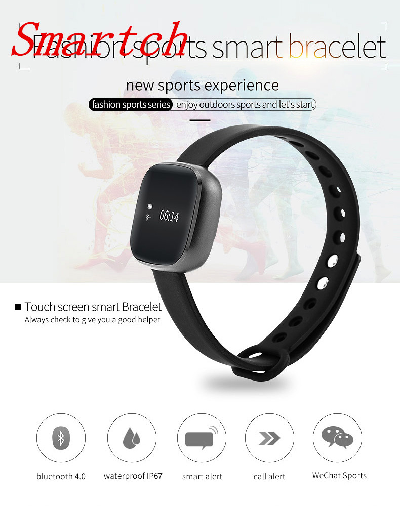 Smartch 2017 Smart Wristband V8 Touch Screen Blood Pressure Smart Bluetooth Bracelet Step Pedometer Heart Rate