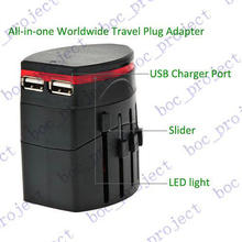 All in One Universal Plug Adapter 2 USB Port World Travel AC Power Charger Converter For AU US UK EU 50pcs/lot + retail package