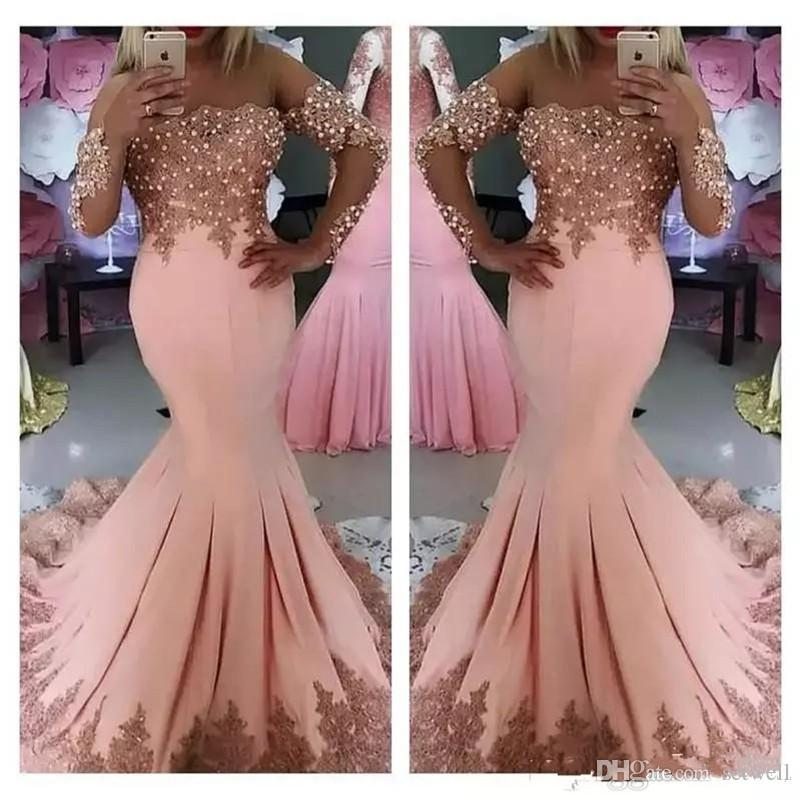 2019 Formal Middle East Evening Dresses Long Sleeves Lace Appliques Mermaid Evening Formal Party dress Pearls robe de soiree
