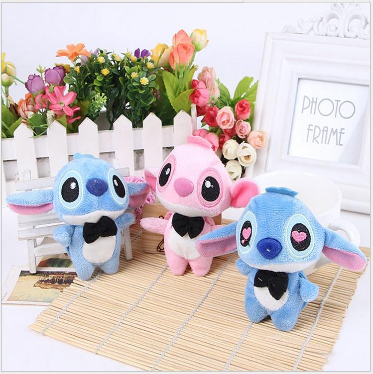 Kawaii 1pcs BIG Lover Lilo Stitch Plush Stuffed TOY DOLL ; 10CM Phone Strap Keychain & BAG Pendant TOY Wedding Gift TOY DOLL
