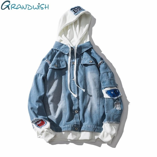 Grandwish Oversize Denim Jeans Jacket Men Spring Mens Hooded Jackets Jeans Plus Size 3XL Hip Pop Jeans Jacket Male ,DA572