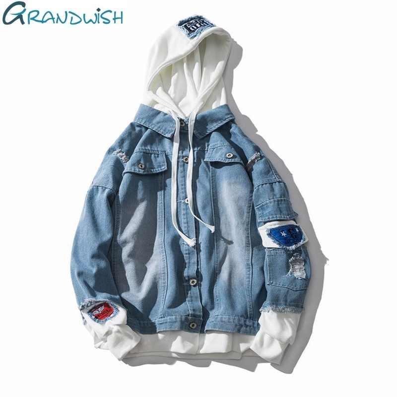 Grandwish/джинсы большого размера Мужская весенняя куртка Мужские куртки с капюшоном джинсы плюс размер 3XL хип поп джинсовая куртка мужская, DA572