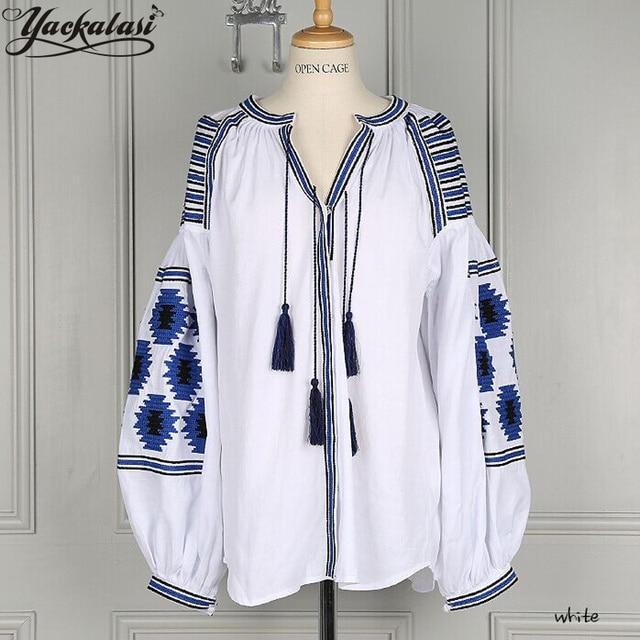 YACKALASI Women Bluses Office Tops Bohemian Girl Spring Summer Dress Embroidered Lantern Sleeve Tassels Loose Shirt