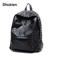 Nowe Mody Kobiety PU kpack torby Szkolne Podróży Czaszki Punk Nit plecak dla Nastoletnich Dziewcząt Mochila feminina B15271Leather bac