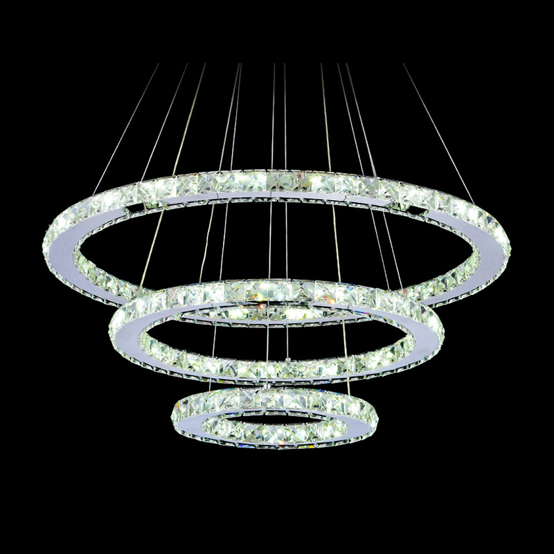 Diamond Crystal Ring LED Chandelier Crystal Lamp Modern Crystal Light Fixture Circle Hanging Lustres LED Luminaire Home Lighting silver crystal ring led chandelier crystal lamp light lighting fixture modern led circle light used for ceiling or wall 20cm