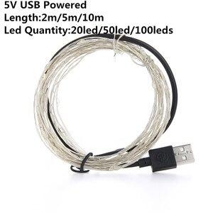 Image 3 - Bande lumineuse Led, guirlande lumineuse de 10m, avec piles AA, DC5V, CR2032, alimenté par USB, pour décoration de mariage, fêtes de noël et de nouvel an