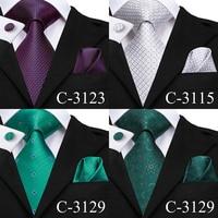 C-3129 Hi-Tie Luxury Silk Men Tie Gold Floral Dark Green Necktie Handkerchief Cufflinks Set Fashion Men's Party Wedding Tie Set 1