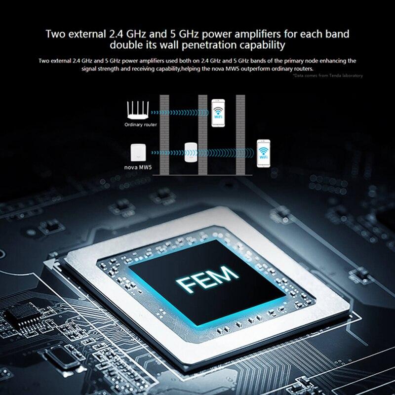 Tenda Nova MW5 Chez Maille WiFi Gigabit Système avec AC1200 2.4G/5.0GHz WiFi Routeur Sans Fil et Répéteur, APPLICATION Gestion À Distance - 5