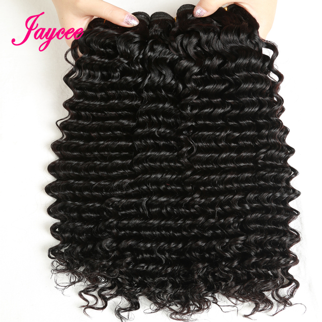 Jaycee Hair Products Malaysian Deep Wave Hair 4 Bundle Deals 8-26 Inches Remy Human Hair Extensions Hair Weaving Natural Color
