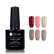 UR SUGAR 1 Bottle 7.5ml Soak Off UV Gel Polish Red And Nude Series Pure Color Nail Art Gel Polish Manicure Gel Varnish