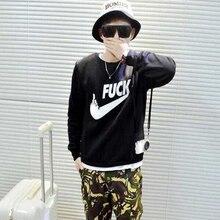 Funny Style Fuck Letter Print Black Mens Autumn Sweatshirt Man Novelty Punk Rock Pullover Male Clothes For Men Women Emoji Logo