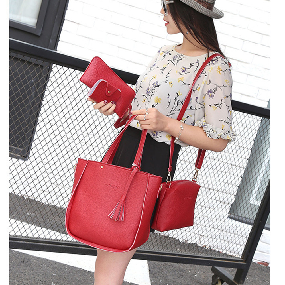 Women Handbags Solid Color PU Leather Shoulder Bags Four-Piece Set Child Package Bag Simple Crossbody Wallet Totes Bags #T