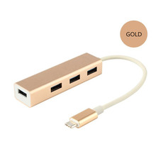 USB3.1 Type-C to 4 ports USB3.0 HUB Cable adapter for Macbook and cellphone gold color