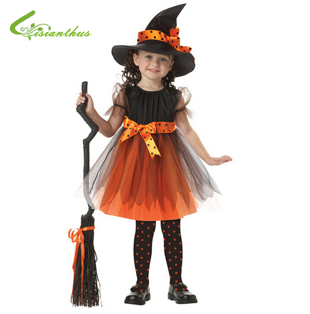Costume di Halloween Per I Bambini Della Ragazza Danza Costumi Strega  Vestito e Cappello Bambini Vestiti b593c2e0f538