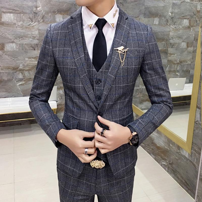 ( Jackets + Vest + Pants ) Men's High-end Suit Brand Plaid Formal Groom Wedding Dress / Men's Classic Plaid Casual Business Suit