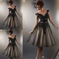 2015 Sleeveless Knee Length Party Celebrity Dresses Chiffon Gown Cocktail Dresses Sheer Back With Appliques Tulle