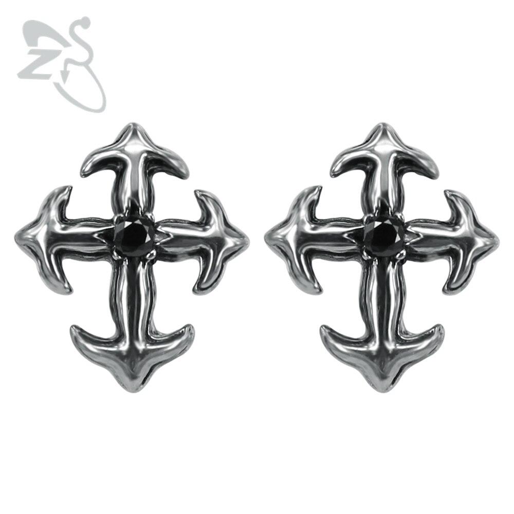 Cross Anchor Ear Stud 316 Stainless Steel Earrings For Men Women Gift Bijoux Brincos Zircon Punk Style Piercing Earring Jewelry