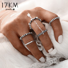 17KM 2016 Fashion Vintage Punk Antique Silver Color Rings for Women 5 pcs/ set Ring Set Finger Ring Knuckle Charm Jewelry